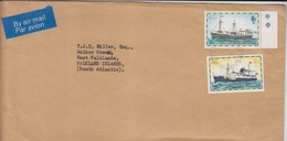 Falklands Airmail Cover, Stamps, Ships  (A-1178) - Falkland