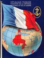 D-19-514 : MINISTERE DE LA DEFENSE NATIONALE ET DE LA GARE. CARTE ILLUSTREE. DRAPEAU. GLOBE TERRESTRE. - Militaria