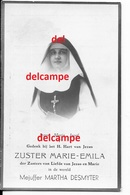 DOODSPRENTJE Martha Desmyter Vlamertinge 1900 Zuster Van Liefde Van Jesus En Maria En Overleden Te Antwerpen 1938 - Images Religieuses