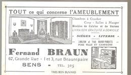 Buvard FERNAND BRAUN 67,Grande Rue Et Rue Beaurepaire à SENS Tout Ce Qui Concerne L'ameublement - Buvards, Protège-cahiers Illustrés