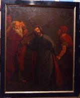 LE CHRIST SUR LE CHEMIN DE CROIX, Peinture à L'huile 19ème - Huiles