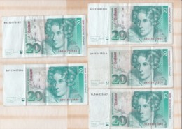 5 Billets De 20  Deutsche Mark 1993 - 20 Deutsche Mark