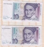 2 Billets De 10  Deutsche Mark 1993 - [ 7] 1949-… : RFA - Rép. Féd. D'Allemagne