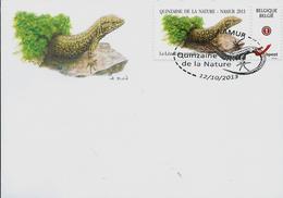 Doc. Avec Le Lézard Des Murailles  Obl. 5000 Namur Du 12/10/2013 - 1985-.. Oiseaux (Buzin)