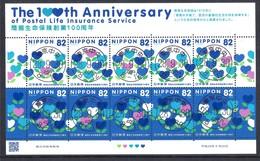 Japan 2016 - The 100th Anniversary Of The Postal Life Insurance Service - 1989-... Emperador Akihito (Era Heisei)