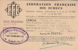 GAP : Carte Du Cercle D'Echecs Fédéré - Café De La Bourse. - Cartes