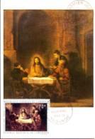 Emmaus' Pilgrims,  Painting By Rembrandt,  Maximum Card Of Cameroun 1970 - Cameroun (1960-...)