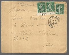France Lettre  Du 30 03 1918  Cachets  Convoyeur Station  De St Dizier  à Troyes  Vers St Cloud ? - Marcophilie (Lettres)