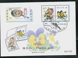 Pensée Et Oiseau  Pour Les 10 Ans Obl. 25/05/2013  Mechelen - 1985-.. Oiseaux (Buzin)