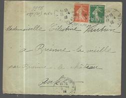 France Lettre  Du 15 04 1918  De Paris Vers Brienne  Le Château Affranchissement Bicolore - Marcophilie (Lettres)