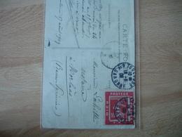 Dieu Protege La France Porte Timbre  Semeuse 1908 - Marcophilie (Lettres)