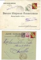 España. 2 Cartas Circladas Desde Granada Con Sellos Locales - 1931-Aujourd'hui: II. République - ....Juan Carlos I