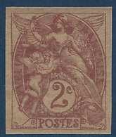 France Type Blanc N°108c**,2c Papier GC Non Dentelé Fraicheur Postale - 1900-29 Blanc