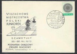 Chess, Poland Szamotuly, 20.07.1972, Special Cancel & Cachet On Envelope, Polish Youth Championship - Schaken