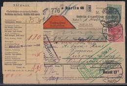 DR Paketkarte NN Mif Minr.85II,86II,2x 91II,4x 115 Berlin 2.9.20 Gel. In Schweiz - Lettres & Documents