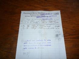 FF5  Document Commercial Facture Pharmacie Pelerin Et Sevrin Bruxelles - Belgique