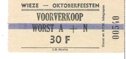 Wieze   Oktoberfeesten   Voorverkoop   1978 - Titres De Transport