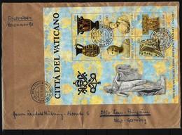 VATIKAN Reco-Beleg Mit Block Mi-Nr. 5 Ausstellung Vatikanischer Kunstwerke In Den Vereinigten Staaten Von Amerika - Vatican