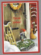Postal Stationery Red Cross Finland - Elf Gnome Sledge Lutin Traîneau Zwerg Schlitten Illustr. Inge Löök - Used 2001 - Finlande