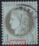 N°50e Trait Inférieur Du Cadre Brisé, Centrage Impeccable, Variété Dégagée, TB - 1871-1875 Cérès