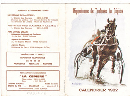 CPSM (31) TOULOUSE Calendrier 1982 Des Courses Hippiques Hippodrome De La Cépière Chevaux Hors (2 Scans) - Calendars