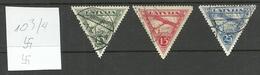 LETTLAND Latvia 1931 Michel 177 - 179 B  (alle 3 Marken Gezähnt/all Perforated 10 3/4) O - Latvia