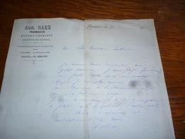 FF5  Document Commercial Facture Adh Raes Pharmacien Jemappes 1902 - Belgique