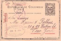 COLOMBIA - POSTCARD DOS CENTAVOS 1904 PANAMA -> USA - Kolumbien