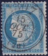 N°60C Oblitéré Cachet à Date Des Bureaux De Passe, Frappe Idéale Et Centrale, Très Rare Comme Cela, TB - 1871-1875 Cérès