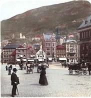 NORWAY - STEREOSCOPIC PHOTO STEREOSCOPIQUE ** BERGEN MARKET SQUARE ** COLOUR !!! RARE Around 1905 - Photos