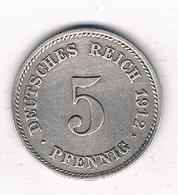 5 PFENNIG  1912 E  DUITSLAND /0489/ - [ 2] 1871-1918 : Empire Allemand