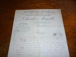 FF5  Document Commercial Facture  Laboratoire De Chimie Charles Ruelle Bruxelles 1902 - Belgique
