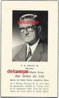 Mortuaire Noblese Emile  Des Grées Du Loû Rennes 1892 Decede Trayas / Fr 1966  Adel Doodsprentje - Images Religieuses