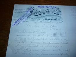 FF5  Document Commercial Facture Sécurité à Tirlemont Tienen 1903 S.A Production De Levures - Belgique