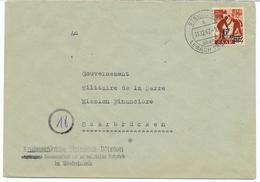 SAAR-SARRE- N° 223A  -24p Surchargè 6F (papier Jaunatre) Seul S/lettre Cachet STEINBACH-LEBACH 11.12.47 Voir Scan - 1947-56 Allierte Besetzung