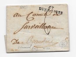 Nom Révolutionnaire Dune Libre Nord (Dunkerque) 3 Germinal An2 Texte Incomplet TB - Marcophilie (Lettres)