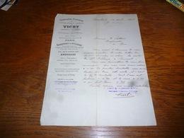 FF5  Document Commercial Facture Compagnie Fermière De L'étalissement Thermal De Vichy Bruxelles 1905 - Belgique