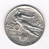 20 CENTESIMI  1921  R   ITALIE /0507/ - 1861-1946 : Royaume