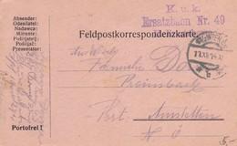 Feldpostkarte K.u.k. Ersatzbaon Nr. 49 Nach Amstetten - 1914 (38797) - 1850-1918 Imperium