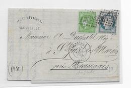 N°42 B Superbe T. Belles Marges Sur Lettre Du 12 Septembre 1871 De Marseille - Marcophilie (Lettres)