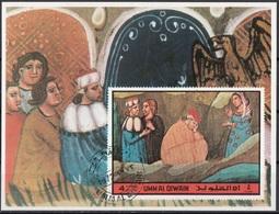Umm Al Qiwain 1972 Dante Divina Commedia Purgatorio Canto XXVII Miniatura Illustrazione Sogno LIA Imperf. Sheet CTO - Umm Al-Qiwain