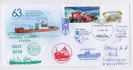 ANTARCTIC Princess Elisabeth Station 63 RAE Base Pole Mail Cover USSR RUSSIA Belgium Signature Helicopter Ship - Bases Antarctiques