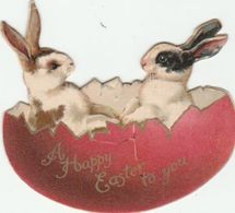 Easter Card  Cut - Out  Two Rabbits In An Egg   Egc187 - Old Paper