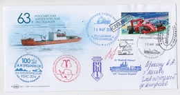 ANTARCTIC Station 63 RAE Base Pole Mail Card USSR RUSSIA Ship Signature Helicopter - Bases Antarctiques