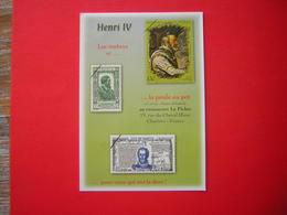 CPM    VOYAGEE HENRI IV  LES TIMBRES ET LA POULE AU POT  L'EURE ET LOIR ET LES TIMBRES CACHET LE PICHET RESTAURANT 28000 - Stamps (pictures)