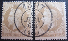 DF50478/72 - NAPOLEON III Lauré N°28A - Cachet BUREAU DE PASSE : 1307 DIJON 22 JUIN 1869 - 1863-1870 Napoléon III Lauré