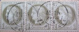 DF50478/74 - CERES (BANDE DE 3 TIMBRES) N°50 (sur Fragment) CàD De PARIS Bd MAGENTA Du 25 FEVRIER 1876 - Cote : 65,00 € - 1871-1875 Cérès