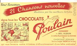 Buvard Poulain 21 Chansons Nouvelles Dans Tous Les Chocolats Bon Voyage Monsieur Dumolet - Chocolat