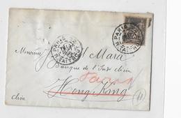 Type Sage Pour Hong Kong En 1905 Avec Ligne N Au Verso - Marcophilie (Lettres)