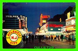 ATLANTIC CITY, NJ = LIGHTS ALONG THE BOARDWALK, ANIMATED AT NIGHT  - TRAVEL IN 1966 - - Atlantic City